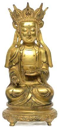 銅鎏金地藏王菩薩 連銅座