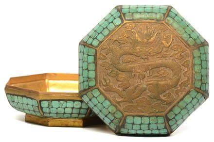 銅鑲綠松石龍紋八方盒