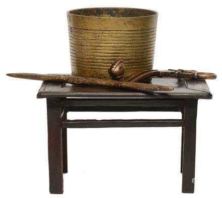 銅茶具四件 連木座