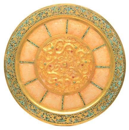 銅鎏金鑲玉彩石鏡