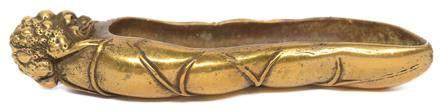 銅鎏金蟾紐荷葉筆掭