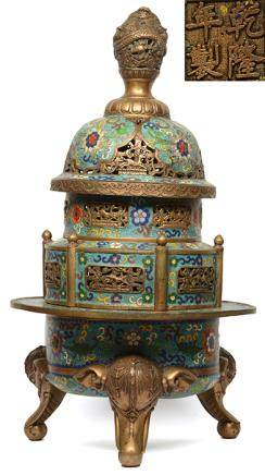景泰藍龍紐三象足爐 - '乾隆年製' 款