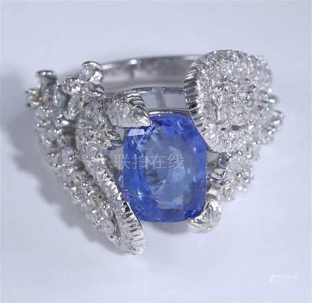 14K / 585 White Gold Blue Sapphire (IGI Cert.) & Diamond Ring