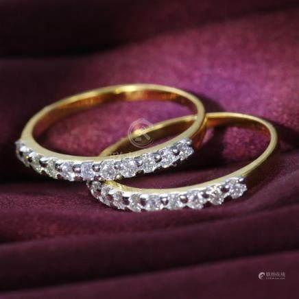 14 K / 585 Yellow Gold Diamond Band Rings (Set of 2)