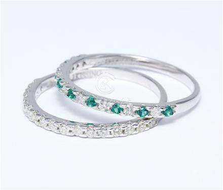 14 K / 585 White Gold Diamond and Emerald Band Ring