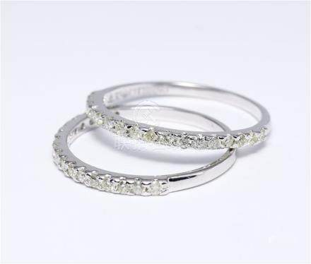 14 K / 585 White Gold Set of 2 Diamond Rings Made for each other