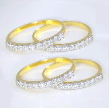 14 K/ 585 Yellow Gold Set of 8 Diamond Band Rings