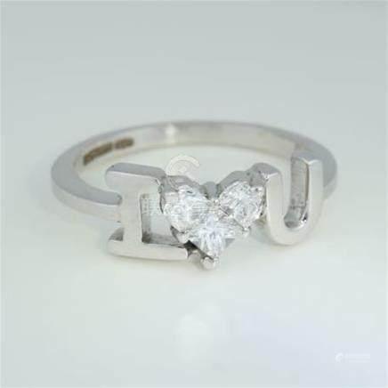 IGI Certified 14 K / 585 White Gold - \ I Love You \ Designer Diamond Ring