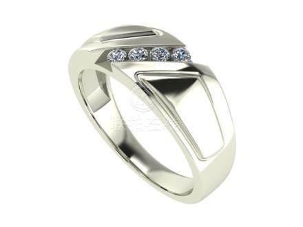 14 K / 585 White Gold Men's Diamond Ring