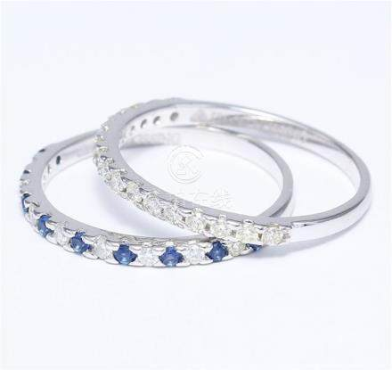 14 K / 585 White Gold Diamond and Blue Sapphire Ring set