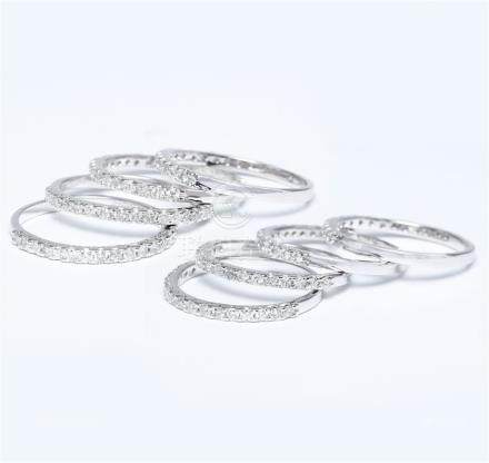 14 K / 585 White Gold Set of 8 Diamond Rings Made for each other