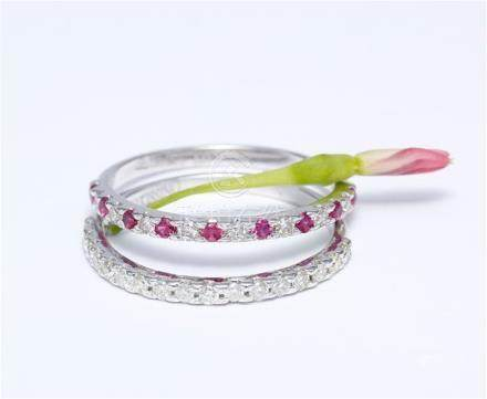 14 K / 585 White Gold Diamond and Ruby Ring Set