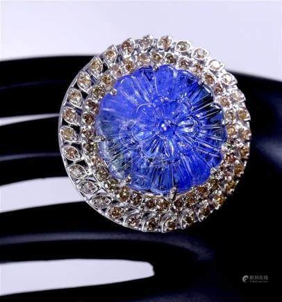 IGI Certified 14 K / 585 White Gold Floral Carved Tanzanite and Diamond Ring