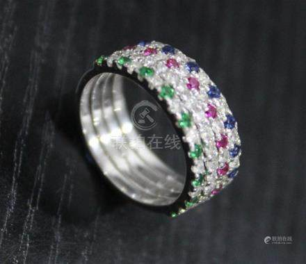 14 K / 585 White Gold Set of 4 Diamond, Blue Sapphire, Emerald and Ruby Rings