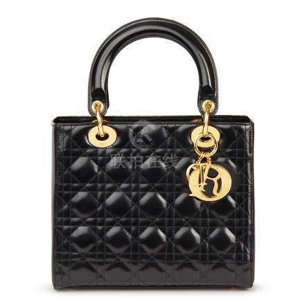 Christian Dior Black Quilted Glazed Calfskin Leather Medium Lady Dior