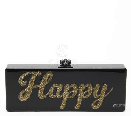 Edie Parker Black Glittered Acrylic Happy Box Clutch