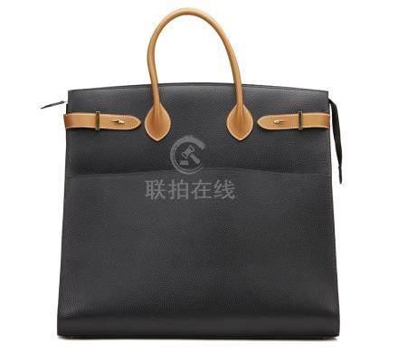 Hermès Black Ardennes Leather & Barenia Leather Vintage Airport Bag