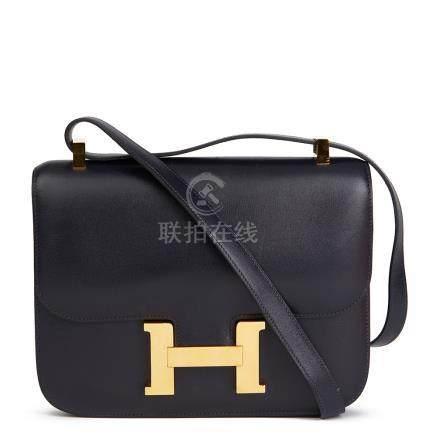 Hermes Navy Box Calf Leather Vintage Constance 23cm