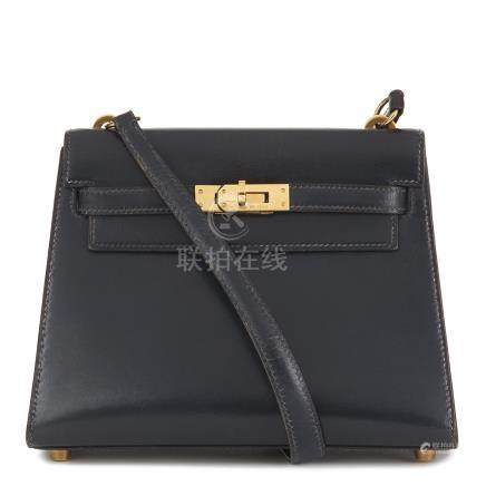 Hermès Navy Box Calf Leather Mini Kelly 20cm