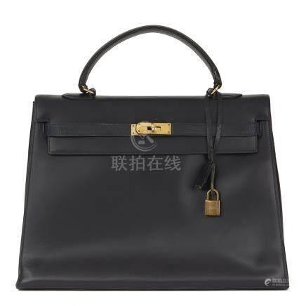 Hermès Navy Box Calf Leather Vintage Sellier Kelly 35cm