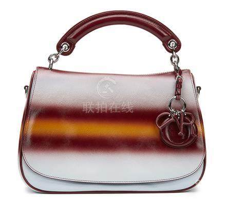 Christian Dior Maroon, Mustard & Blue Gradient Patent Leather Dune Bag