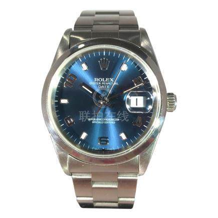 Rolex Stainless Steel Oyster Date with Blue Dial