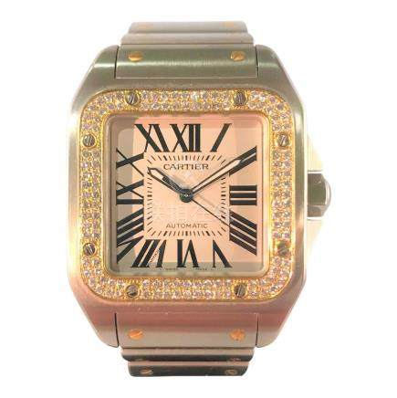 Cartier Santos 100 XL with Gold and Diamond bezel