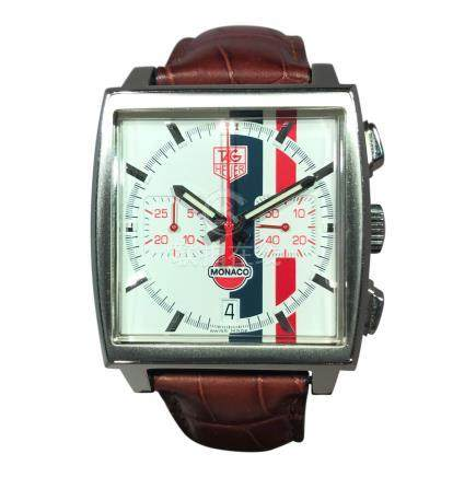 Tag Heuer Monaco Ltd. Edition Gulf Chronograph with Red & Blue Stripe Dial