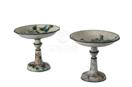 PAIR OF MIRRORED DESIGN WHITE CLOISONNE HIGHFOOTED MULTICOLO