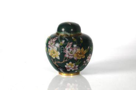 CLOISONNE ENAMEL GINGER JAR IN THE CHINESE STYLE