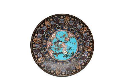 A JAPANESE LARGE CLOISONNE PLATE