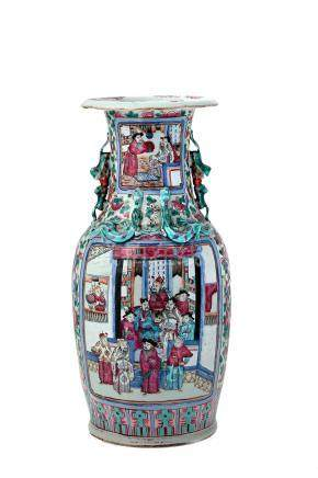 A PAIR OF CANTONESE FAMILLE ROSE LARGE VASES