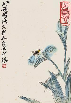 蝴蝶花卉圖 齊白石款