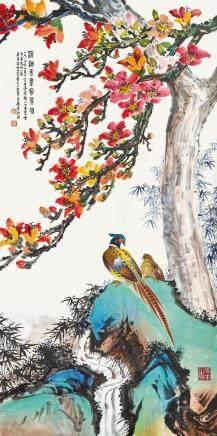 花鳥圖 黃鶴屏