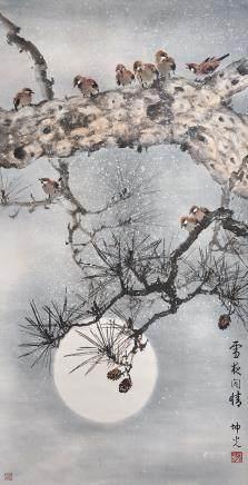 雪夜圖 馬坤光