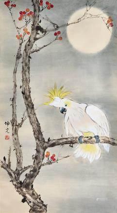 月下鸚鵡圖 馬坤光