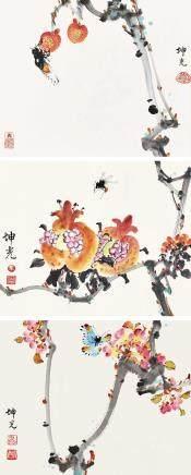 荔枝與蟬圖 / 石榴與蜜蜂圖 / 蝴蝶花圖 馬坤光