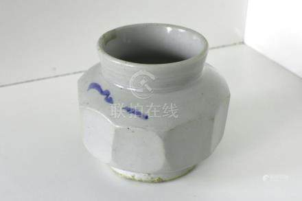 A blue and white porcelain octagonal jar
