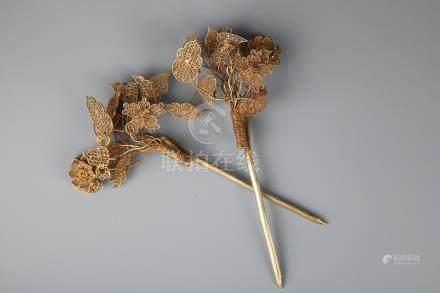 A Pair Of Gilt Silver Hairpins