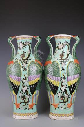 Qianlong Mark, A Pair Of Famille Rose Vases