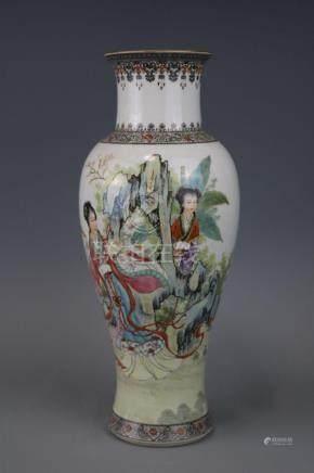 Jingdezhen Mark, A Famille Rose Vase With Human Figure