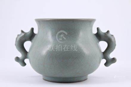 Song Guan Yao Crackle Porcelain Brush Pot