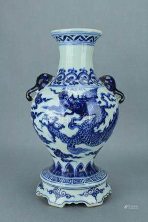 Ming Blue&White Dragon Vase XuanDe Mark Period