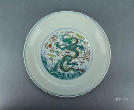 Qing DouCai Dragon Plate YongZheng Period and Mark