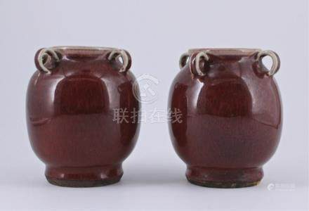 Pair of Qing Flame Red Glaze Porcelain Vase