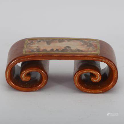 CHINESE FAMILLE ROSE SCROLL BRUSH REST