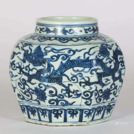 CHINESE BLUE AND WHITE DRAGON JAR