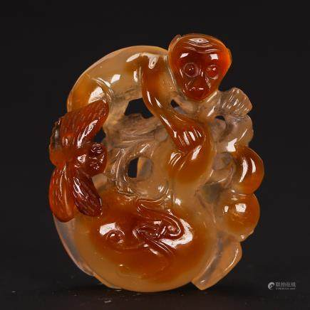 CHINESE AGATE CARVED PENDANT