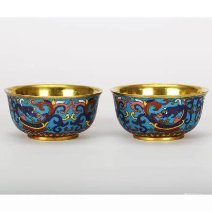 CHINESE PAIR OF CLOISONNE CHILONG BOWL