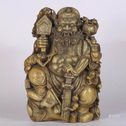CHINESE SOAPSTONE CARVED FIGURAL